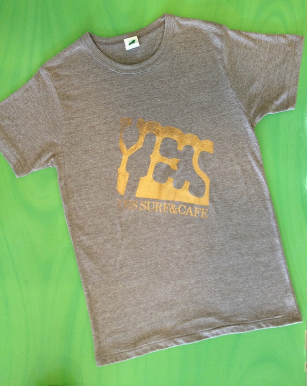 「YES SURF&CAFE」LOGO  S/STee ヴィンテージヘザー M