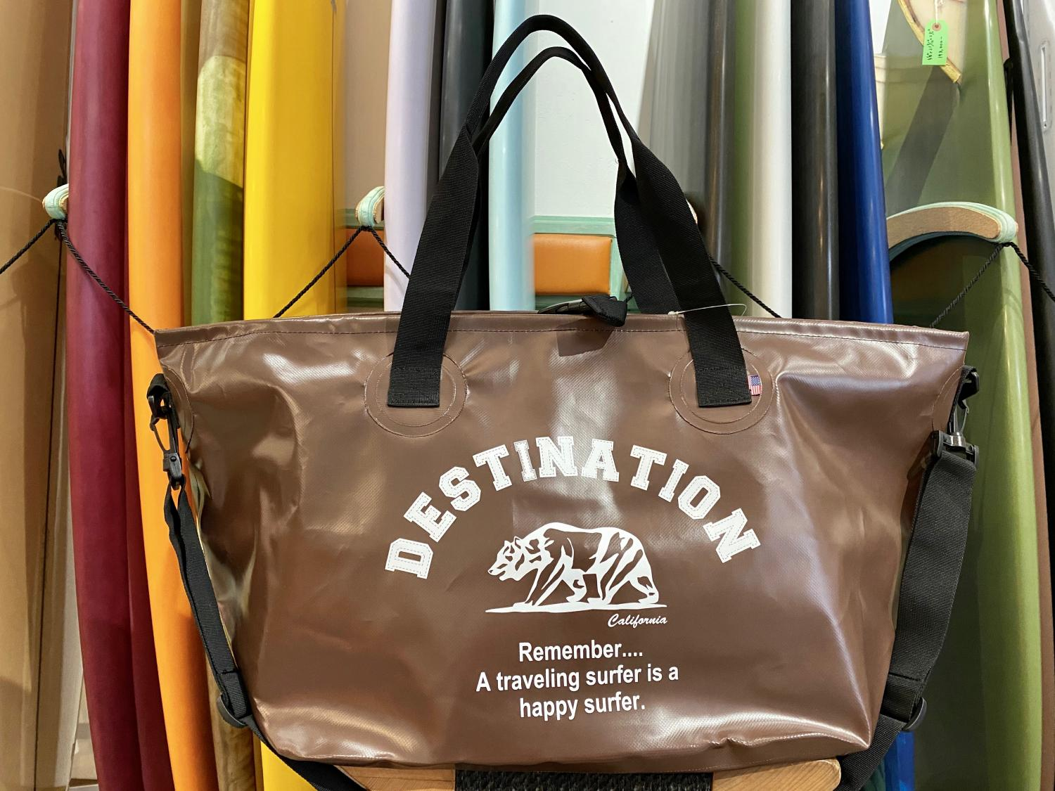 DESTINATION WET TOTE BAG BEAR LOGO BROWN