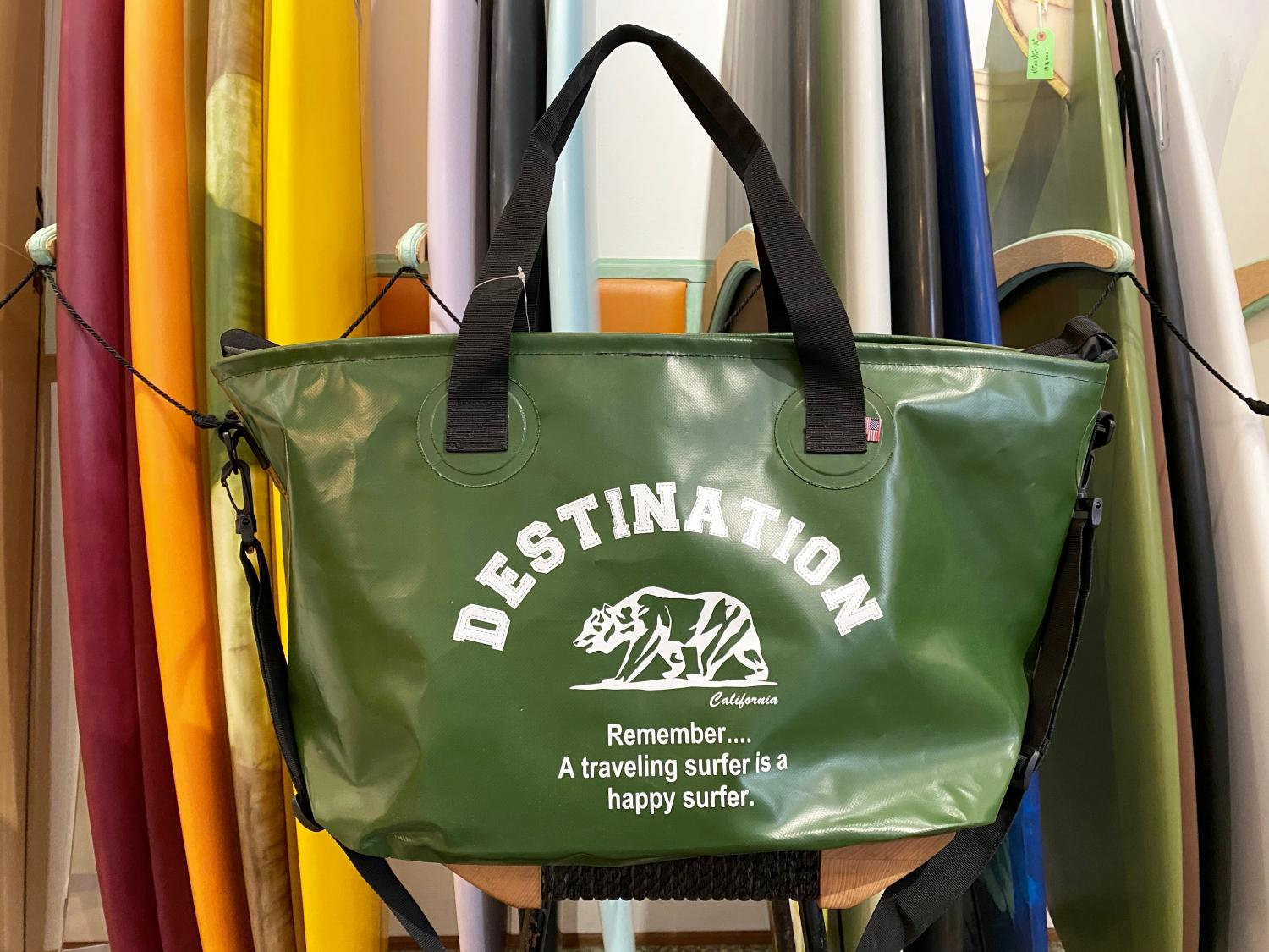 DESTINATION WET TOTE BAG BEAR LOGO ARMY GREEN