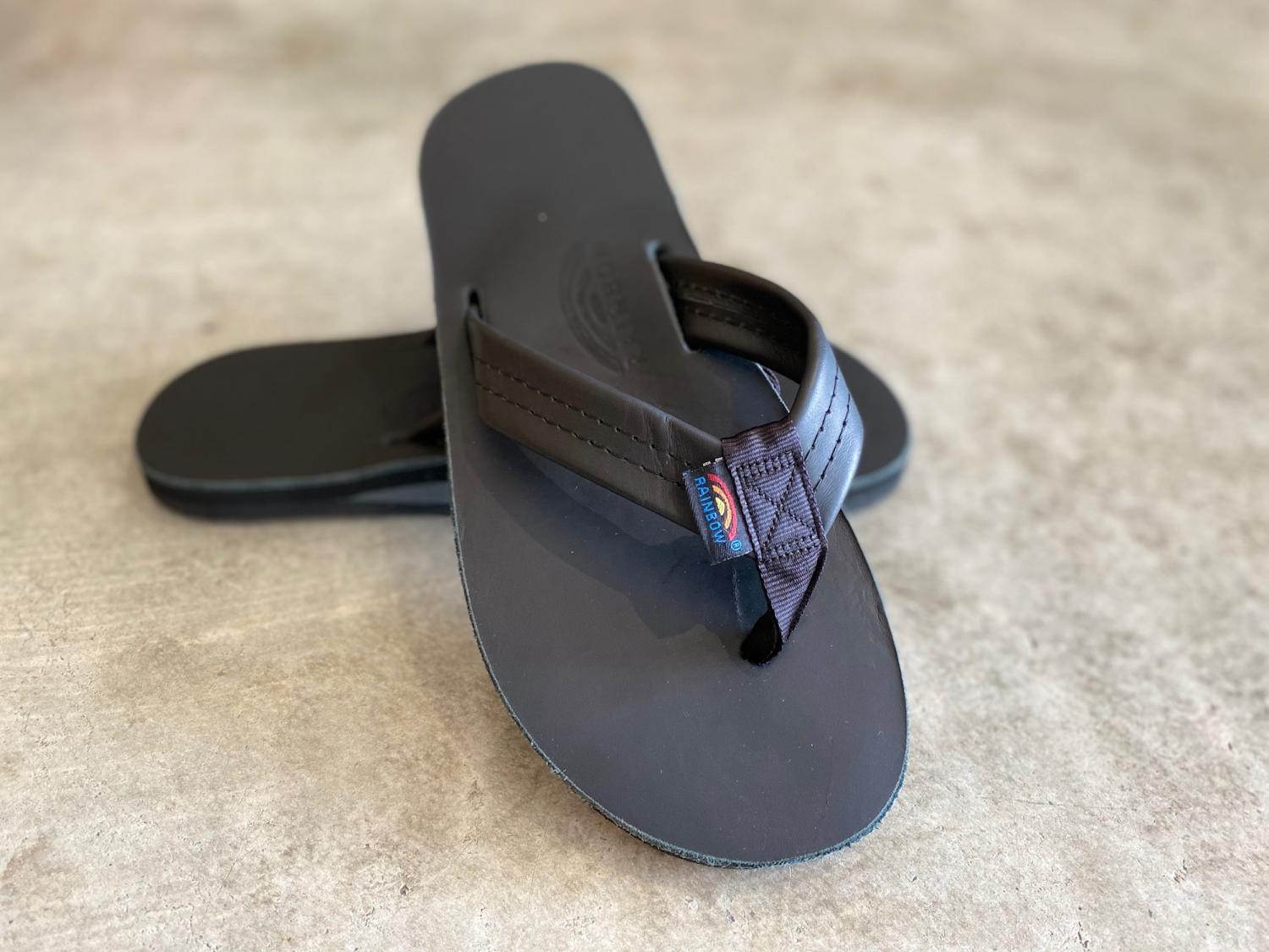 RAINBOW SANDALS MEN'S BLACK CLASSIC LETHER single