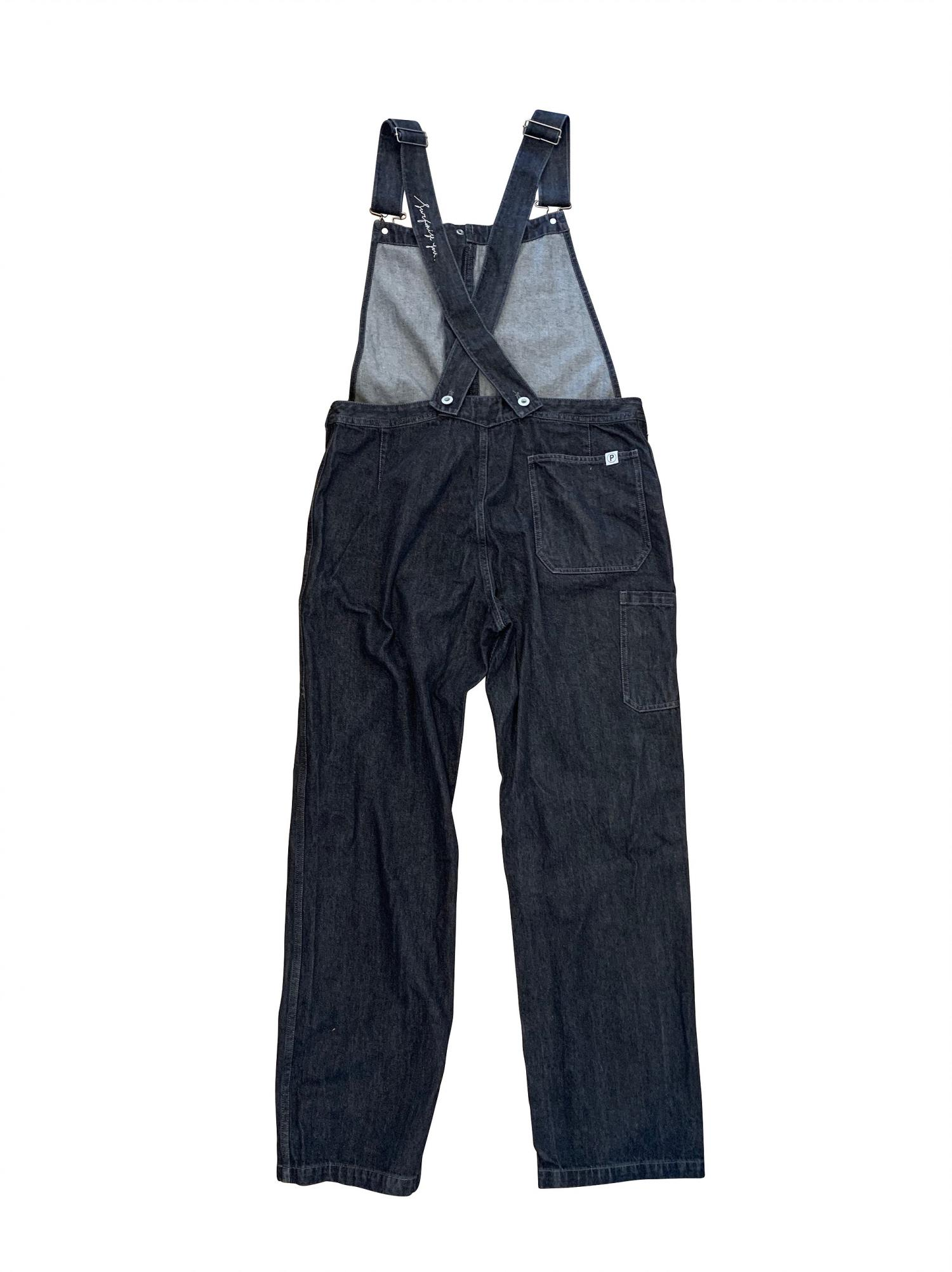P SUPPLY. Black denim overalls