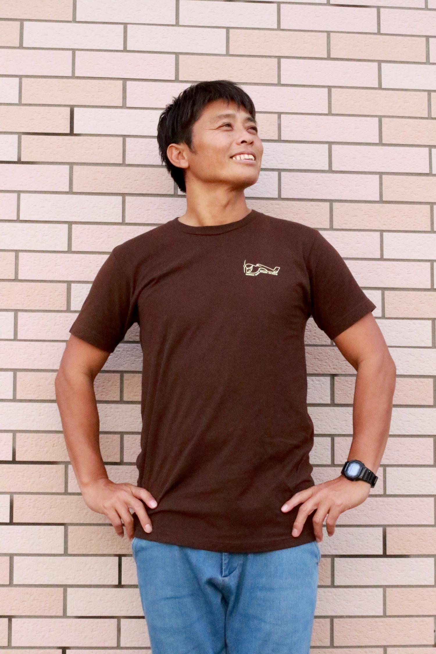 GREENOUGH AIRPLANE BACK LOGO T-SHIRT BROWN